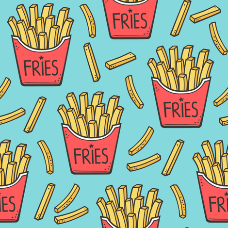 French Fries Fast Food Red on Blue fabric by caja_design on Spoonflower - custom fabric