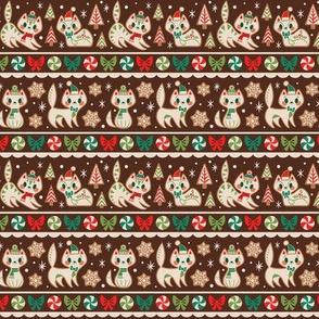 Small Gingerbread Kitties Stripe (Brown)
