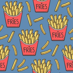 French Fries Fast Food Red on Dark Blue Navy