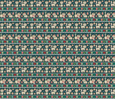 Small Gingerbread Kitties Stripe (Blue) fabric by therewillbecute on Spoonflower - custom fabric