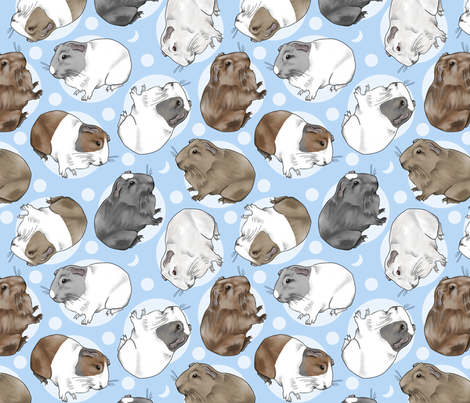 Guinea pigs and moon dots - medium blue fabric by rusticcorgi on Spoonflower - custom fabric