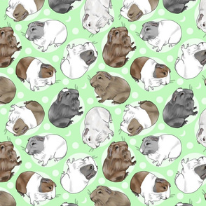 Guinea pigs and moon dots - medium green