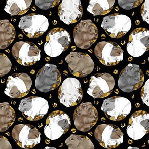 Guinea pigs and moon dots - medium faux gold