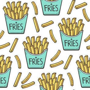 French Fries Fast Food Mint Green on White
