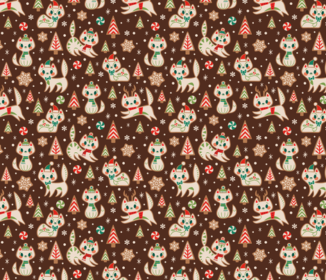 Gingerbread Kitties (Brown) fabric by therewillbecute on Spoonflower - custom fabric