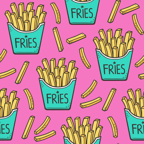 French Fries Fast Food Green Mint on Pink fabric by caja_design on Spoonflower - custom fabric