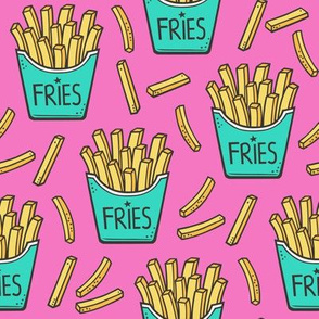 French Fries Fast Food Green Mint on Pink