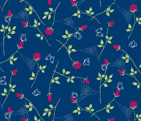 Gossamer and petals - navy fabric by tuppencehapenny on Spoonflower - custom fabric