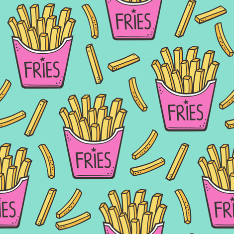 French Fries Fast Food Pink on Mint Green fabric by caja_design on Spoonflower - custom fabric