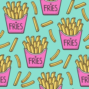 French Fries Fast Food Pink on Mint Green