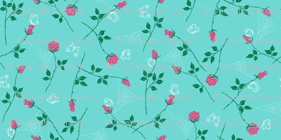 Gossamer and petals - turquoise