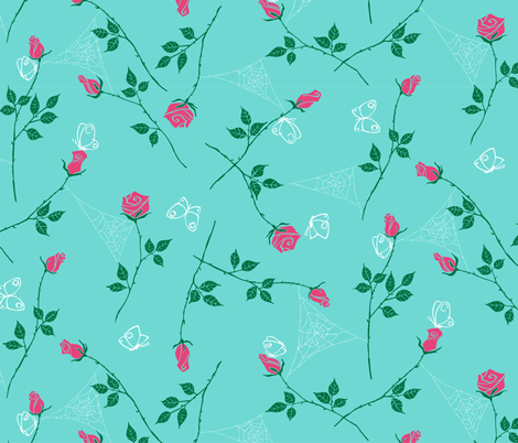Gossamer and petals - turquoise fabric by tuppencehapenny on Spoonflower - custom fabric
