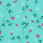Rosebuds_pattern_tile_-_turquoise_hot_pink-01_shop_thumb