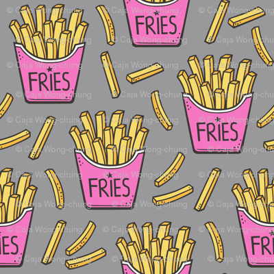 French Fries Fast Food Pink on Grey