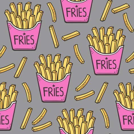 French Fries Fast Food Pink on Grey fabric by caja_design on Spoonflower - custom fabric