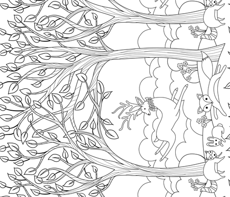 Forest Frolicking in black and white fabric by vo_aka_virginiao on Spoonflower - custom fabric