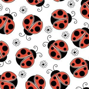 red ladybugs-and-flowers