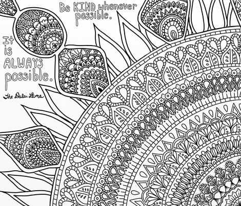 Be Kind Coloring Sheet fabric by addie_d on Spoonflower - custom fabric