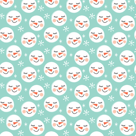 tiny snowman-faces-on-teal fabric by lilcubby on Spoonflower - custom fabric