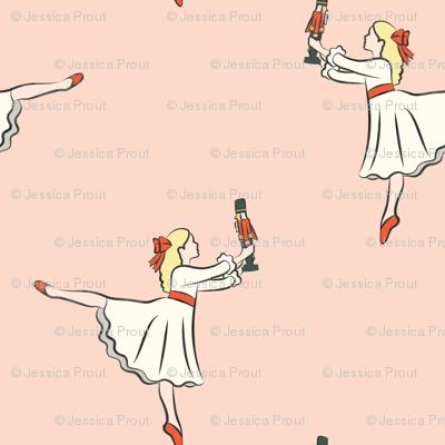 ballet fabric - nutcracker - clara  - peach