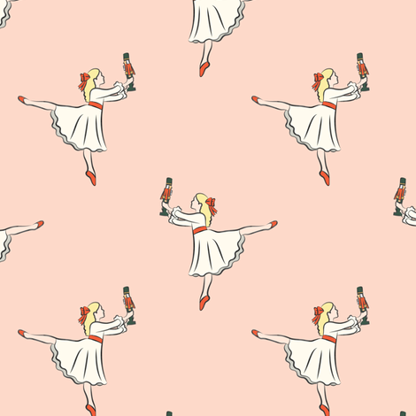 ballet fabric - nutcracker - clara  - peach fabric by littlearrowdesign on Spoonflower - custom fabric