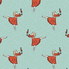 ballet fabric - nutcracker - clara red dress -  blue w/snow