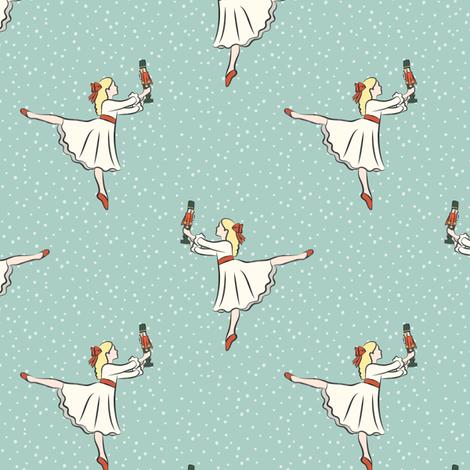 ballet fabric - nutcracker - clara cream dress (rs)-  blue w/snow fabric by littlearrowdesign on Spoonflower - custom fabric