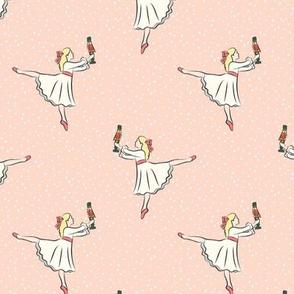 ballet fabric - nutcracker - clara  - peach w/snow