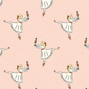 ballet fabric - nutcracker - clara (rs) - peach w/snow