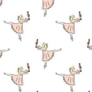ballet fabric - nutcracker - clara - white
