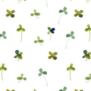 Green Watercolor Shamrocks