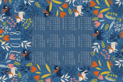 2018 Calendar Tea Towel - Cats & Flowers fabric by melarmstrongdesign on Spoonflower - custom fabric