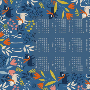 2018 Calendar Tea Towel - Cats & Flowers