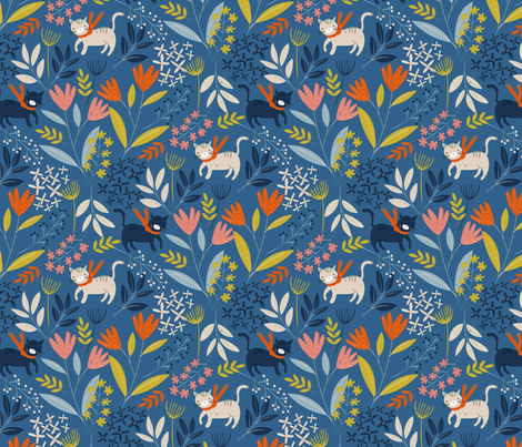 Cats and Flowers fabric by melarmstrongdesign on Spoonflower - custom fabric