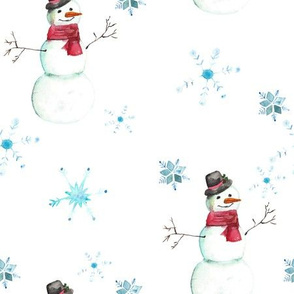 Watercolor Winter Snowmen - Large 400 DPI