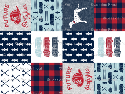 """(3"""" small scale) firefighter wholecloth - patchwork - red blue navy  - future firefighter red (90)"""