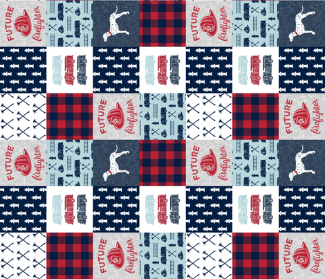 """(3"""" small scale) firefighter wholecloth - patchwork - red blue navy  - future firefighter red (90) fabric by littlearrowdesign on Spoonflower - custom fabric"""