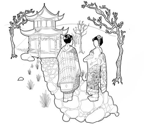 A walk with the geishas fabric by kawthar_ on Spoonflower - custom fabric
