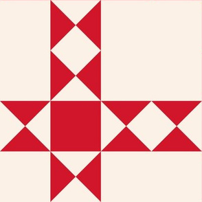 Red stars and squares on cream: 6in mix and match