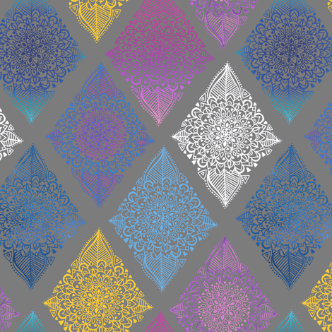 Boho Diamonds in Spring Colors on Grey fabric by tangerine-tane on Spoonflower - custom fabric