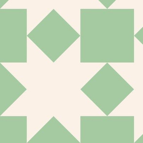 Cream stars on green: 6in mix and match