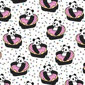 A Very Good Day - pandas & donuts with sprinkles on white