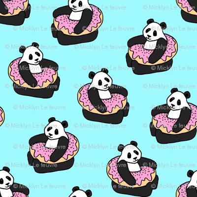 A Very Good Day - pandas & donuts on aqua
