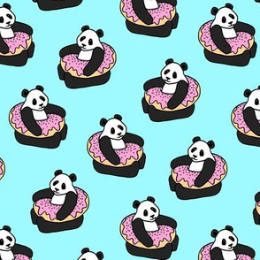 A Very Good Day - pandas & donuts on aqua