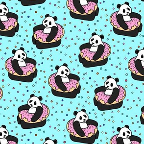 A Very Good Day - pandas & donuts with sprinkles on aqua