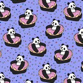 A Very Good Day - pandas & donuts with sprinkles on purple