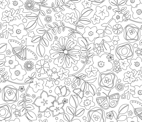 flowers and butterlies fabric by lisahilda on Spoonflower - custom fabric
