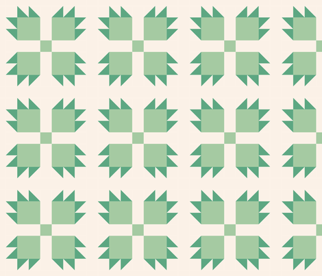Bear paw green on cream: 6in mix and match fabric by janetdrummond on Spoonflower - custom fabric