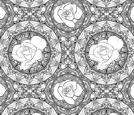 Roses for Coloring fabric by jadegordon on Spoonflower - custom fabric