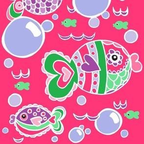 Swish Tail Fish dk Pink